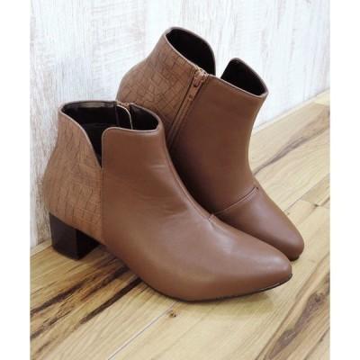 ブーツ 異素材コンビサイドスリットショートブーツ [ minia / Una gardenia ]