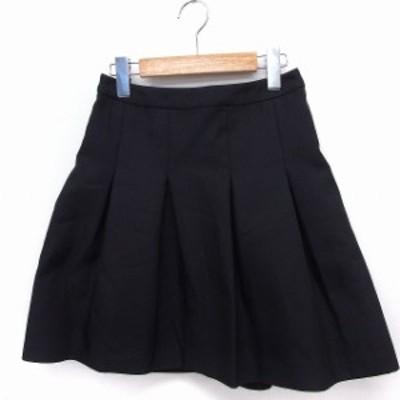 【中古】スピック&スパン ノーブル Spick&Span Noble スカート フレア ひざ丈 無地 シンプル 36 黒 /FT40 レディース