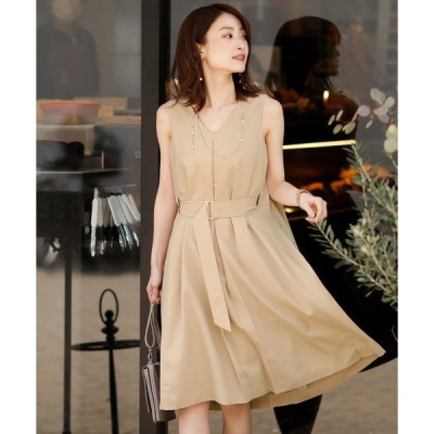 ドレス バックプリーツベルトスカートドレス/結婚式ワンピース お呼ばれ・二次会・セレモニー大きいサイズ対応フォーマルパーティードレス