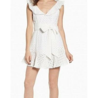 AFRM  ファッション ドレス AFRM NEW White Womens Size Medium M Lace Ruffled Sheath Dress