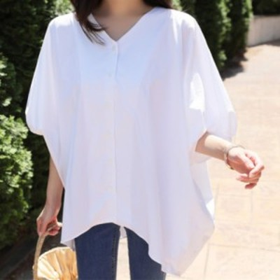 シャツ トップス 半袖 五分袖 バットスリーブ Vネック オーバーサイズ ゆったり アシンメトリー ホワイト 白シャツ 体型カバー 着痩せ ビ