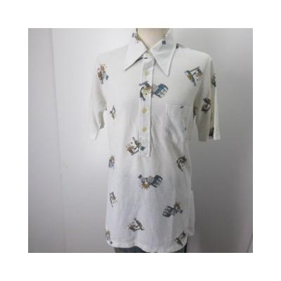 昭和レトロ 柄シャツ 半袖 S 白 ビール メンズ JAPAN古着 sy055