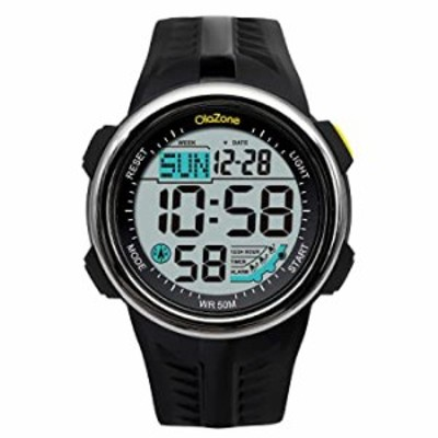 スポーツデジタル腕時計 防水164フィート 50m 水泳 60ラップ 3アラーム ストップウォッチ デュアルタイム ブラック 樹脂製 男性 女性 男