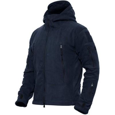 メンズ ジャケット フリース ジャンパー 登山 アウトドア 防風 多機能 ウィンドブレーカー スポーツ アウター 防寒 ネイビー 2XL