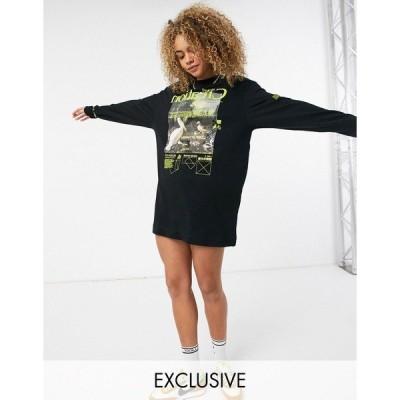 コリュージョン レディース ワンピース トップス COLLUSION placement print long sleeve t-shirt dress in black Black