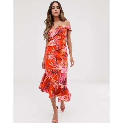 リプシー レディース ワンピース トップス Lipsy bardot scuba dress with pleated detail in floral print Tiger lily