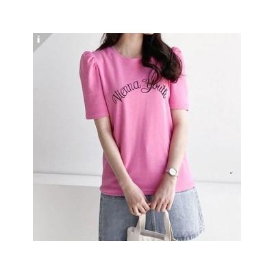 パフスリーブ レタリング ル−ズフィット 半袖 ロング トップス Tシャツ  T-shirt