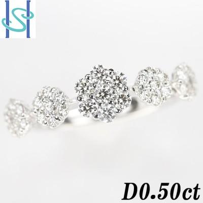【SH51664】ダイヤモンド リング 0.50ct K18ホワイトゴールド 花 フラワー【中古】