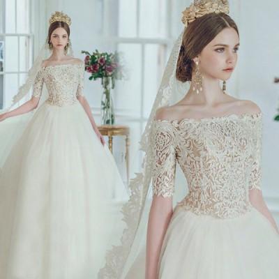 ウエディングドレス エレガンス レトロドレス ロングドレス 結婚式 花嫁 白 シースルーレース 透かし感 安い プリンセス パーティードレス 披露宴 コンサート