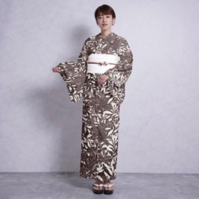 浴衣 セット レディース 浴衣 3点セット(浴衣/帯/下駄)日本製生地 国内染色 紫 えんじ ワイン ボルドー チョコ マーガレット