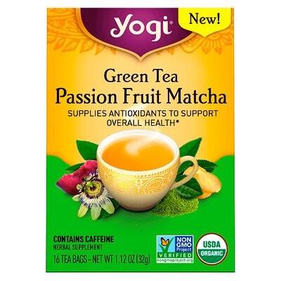 グリーンティー,抹茶パッションフルーツ,ティーバッグ16袋,32g(1.12 oz)