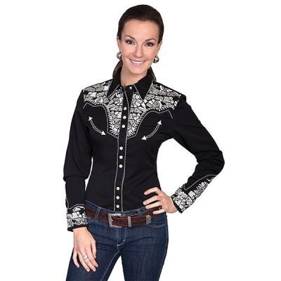 ウエスタンシャツ 刺繍 女性 カントリー シルバー PL-654 SIL XS-M