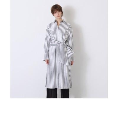 ホワイトストライプ ロング シャツ ドレス