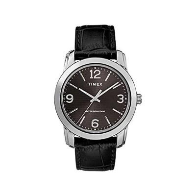 【新品未使用品】Timex Men's TW2R86600 Classic 39mm Black/Silver-Tone Croco Pattern Leather 【並行輸入品】