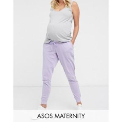 エイソス レディース カジュアルパンツ ボトムス ASOS DESIGN Maternity mix & match washed basic jogger with tie in lilac Lilac