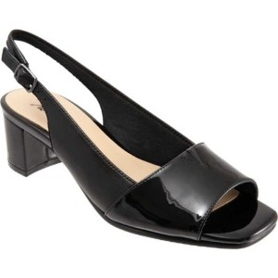 トロッターズ レディース サンダル シューズ Monique Slingback Sandal Black/Black Leather/Synthetic