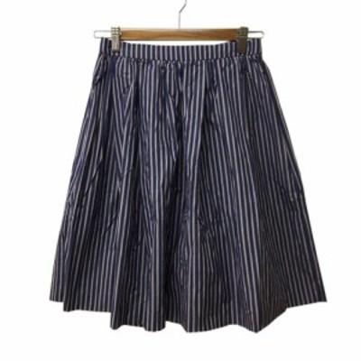 【中古】アダムエロペ Adam et Rope' スカート フレア ギャザー ストライプ ひざ丈 36 紺 白 ネイビー ホワイト