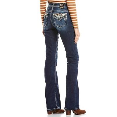 ミスミー レディース デニムパンツ ボトムス Sweet Addition Paisley Embellished Flap Pocket Mid Rise Bootcut Jeans