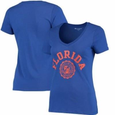 Champion チャンピオン スポーツ用品  Champion Florida Gators Womens Royal College Seal V-Neck T-Shirt