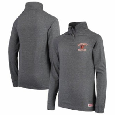Stitches スティッチ スポーツ用品  Stitches Baltimore Orioles Youth Heathered Charcoal Quarter-Zip Pullover Jacket
