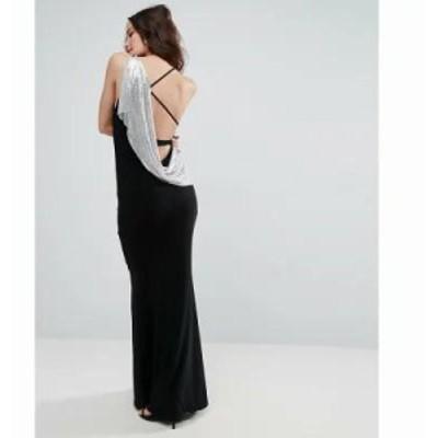 エイソス ワンピース ASOS Chainmail Asymmetric Back Maxi Dress Black