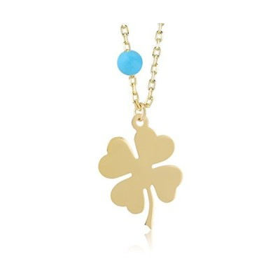 GELIN 14K Yellow Gold Turquoise Clover Pendant Necklace for Women, 18 Inch, Fine Jewelry Gift for Christmas, Birthday and Anniversary【並