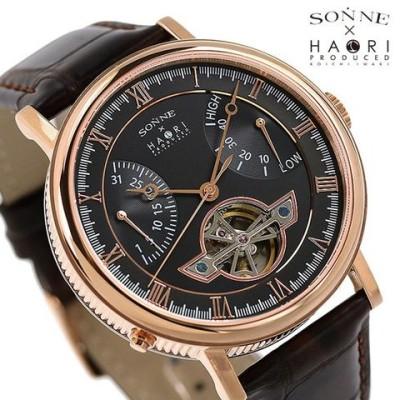 ゾンネ 腕時計 ハオリ H024 岩城滉一 コラボモデル 44mm パワーリザーブ 自動巻き メンズ H024PG-BK SONNE 時計 HAORI ブラック×ブラウン