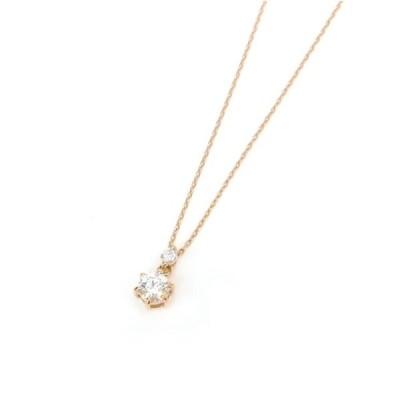 ペンダントネックレス 18金 ダイヤモンド 0.187ct 0.03ct /ピンクゴールド/K18PG【中古】(53013)
