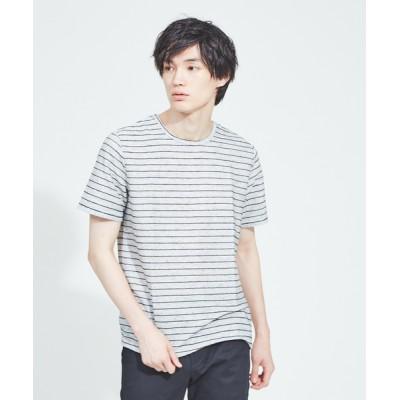 ABAHOUSE / 【WEB別注】麻混メランジリップルボーダー半袖Tシャツ MEN トップス > Tシャツ/カットソー