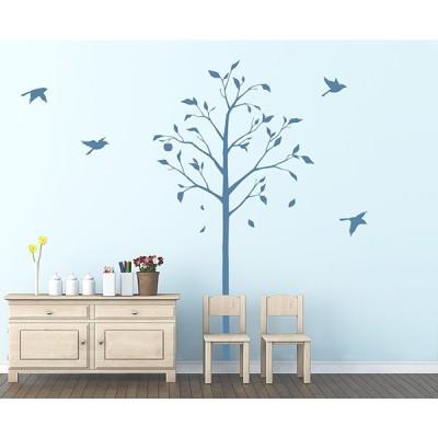 転写タイプ 大判 高級 ウォールステッカー「林檎の木と小鳥:ブルー」木 果物 鳥 日本製 壁傷 汚れ隠し インテリア キッチン