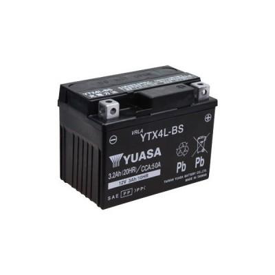 12V高品質シールド・バイク用バッテリー(電解液注入済タイプ) 台湾YUASA YTX4L-BS
