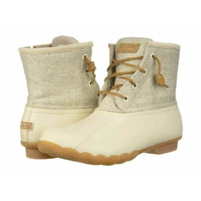 スペリー ブーツ&レインブーツ シューズ レディース Saltwater Emboss Wool Off-White