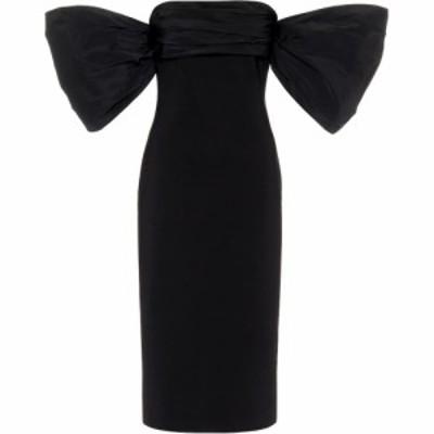 ジバンシー Givenchy レディース パーティードレス ミドル丈 ワンピース・ドレス Taffeta-trimmed knit midi dress Black
