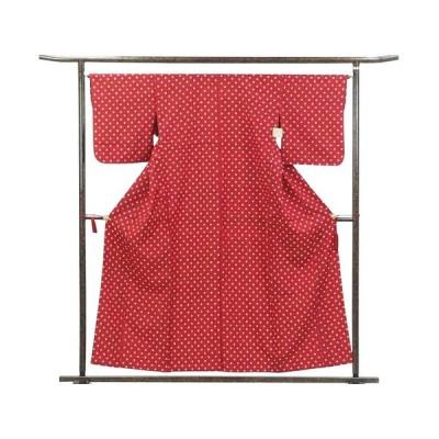 リサイクル着物 紬 正絹赤地白絣単衣紬着物