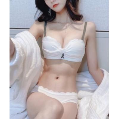 大人気 Luna Stella【商標出願中】25 盛れるノンワイヤー ブラ&ショーツセット かわいい 美胸ブラ  セクシー ランジェリー アンダ