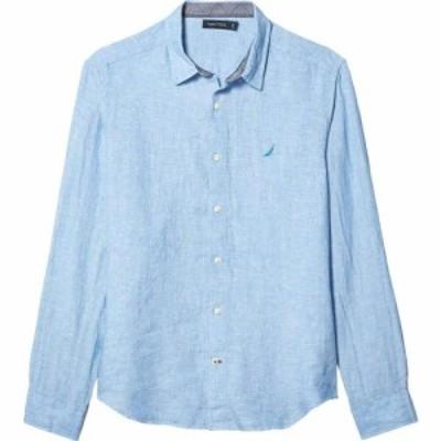 ノーティカ Nautica メンズ シャツ トップス Long Sleeve Faded Linen Shirt Blue