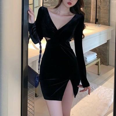 キャバドレス キャバ嬢ドレス 大きいサイズ キャバクラドレス キャバ ドレス ミニ丈 スリット 無地 ブラック Vネック およばれ タイト ベロア おしゃれ 大人