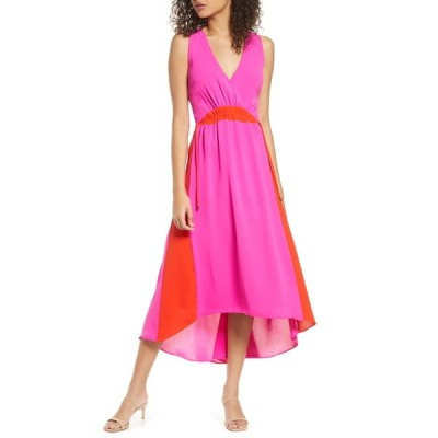 ハーリン レディース ワンピース トップス Colorblock High/Low Midi Dress MAGENTA RE