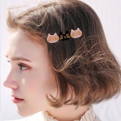 3匹の猫のヘアクリップ女性の女の子のためのヘアピン髪留めホワイトブラックホワイト