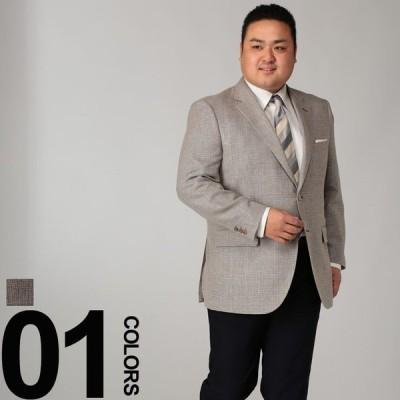 大きいサイズ メンズ B&T CLUB (ビーアンドティークラブ) ichiteki生地 麻混 格子柄 シングル 2ツ釦 ジャケット BEIGE 1922075219S01
