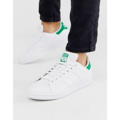 アディダス adidas Originals メンズ スニーカー スタンスミス シューズ・靴 Stan Smith Trainers With Green Heel Tab In White ホワイト