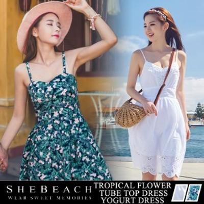即納 ワンピース レディース 韓国 SHEBEACH シービーチ サマードレス フレア レース ノースリーブ 体型カバー かわいい 花柄 女性用