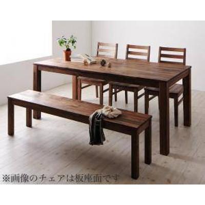 ダイニングテーブルセット 6人用 椅子 ベンチ おしゃれ 安い 北欧 食卓 5点 ( 机+チェア3+長椅子1 ) ウォールナット レザー座 幅180 デザ