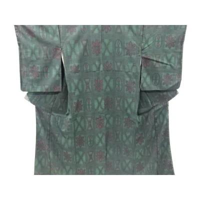 大正ロマン 市松に抽象模様織り出し着物
