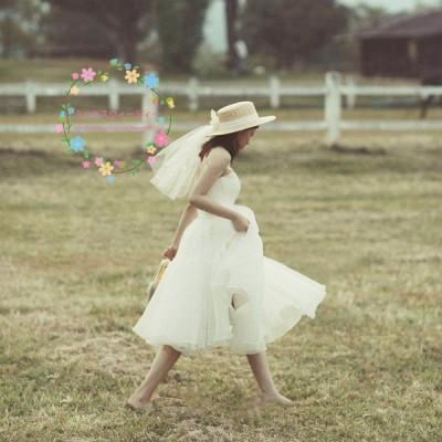 ウェディングドレス Aライン チュールスカート ホワイト ミディアム丈 ミモレ丈  結婚式 披露宴 二次会 前撮り パーティー リゾートウェディング かわいい