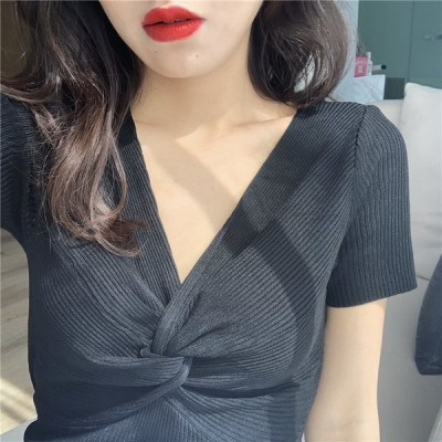 レディースTシャツ 半袖Tシャツ ニット  Vネック無地 カットソー半袖 着やせ 綺麗おしゃれ
