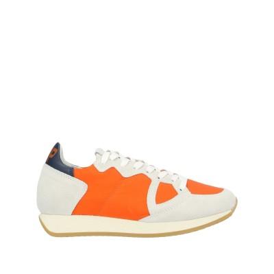 フィリップ モデル PHILIPPE MODEL スニーカー&テニスシューズ(ローカット) オレンジ 35 革 / 紡績繊維 スニーカー&テニスシュ
