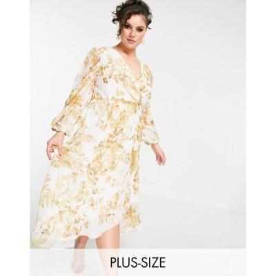 フォーエバーニュー ドレス 大きいサイズ レディース Forever New Curve wrap midi dress with ruffle hem in ivory and gold floral エイソス ASOS マルチカラ
