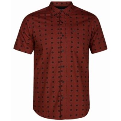 Hurley ハーレー ファッション アウター Hurley NEW Red Mens Size Small S Beholder Print Button Down Pocket Shirt