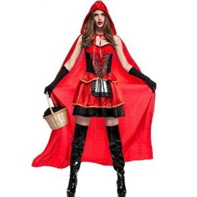 赤ずきん コスプレ 赤ずきんちゃん 仮装 ハロウィン 衣装 コスチューム ドレス サンタ 女性用 ワンピース+マント3点セット Halloween パ